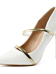 cheap -Women's Wedding Shoes Stiletto Heel Pointed Toe Synthetics Minimalism Spring & Summer Black / White / Champagne / Party & Evening