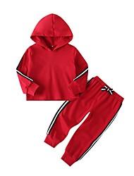 preiswerte -Baby Mädchen Street Schick Gestreift Langarm Standard Kleidungs Set Rote