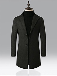 abordables -Homme Quotidien Rétro Vintage Automne hiver Longue Manteau, Couleur Pleine Col en V Manches Longues Polyester Mosaïque Noir / Vin / Gris Foncé