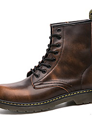 cheap -Men's Combat Boots Cowhide Winter Boots Booties / Ankle Boots Black / Brown / Wine