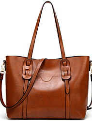 cheap -Women's Zipper PU Tote Leather Bags Solid Color Wine / Black / Brown