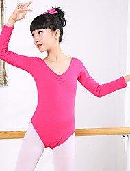 cheap -Ballet Leotards Girls' Training / Performance Spandex / Flannel Ruching Long Sleeve Natural Leotard / Onesie
