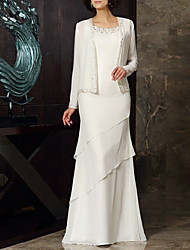 cheap -Sheath / Column Jewel Neck Floor Length Chiffon Mother of the Bride Dress with Beading / Tier by LAN TING Express