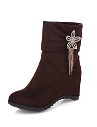 cheap -Women's Boots Hidden Heel Round Toe Rhinestone Faux Fur Booties / Ankle Boots Casual / Sweet Spring &  Fall / Fall & Winter Black / Brown / Burgundy
