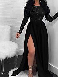 Недорогие -Жен. Макси Gatsby Флэппер Платье - Длинный рукав Однотонный 1920s Тонкие Черный S M L XL