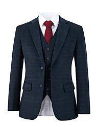 cheap -Dark gray plaid tweed wool custom suit