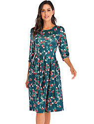 cheap -Women's Green Blue Dress Basic Casual / Daily T Shirt Floral Black Print S M