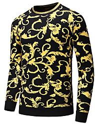 cheap -Men's Geometric Long Sleeve Pullover Sweater Jumper, Round Neck Black US34 / UK34 / EU42 / US36 / UK36 / EU44 / US38 / UK38 / EU46