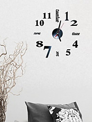cheap -Modern Contemporary Glasses Round Indoor Battery Decoration Wall Clock Mirror Polished No