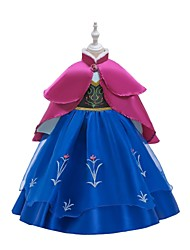 cheap -Princess Anna Dress Masquerade Flower Girl Dress Girls' Movie Cosplay A-Line Slip Retro Vintage Cosplay Blue / Ink Blue Dress Halloween Carnival Masquerade Tulle Polyester