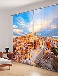 abordables -ville européenne sur la montagne impression numérique 3d rideau rideau d'ombrage haute précision noir tissu de soie haute qualité rideau