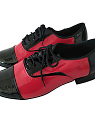 cheap -Men's Modern Shoes / Ballroom Shoes PU Lace-up Heel Thick Heel Customizable Dance Shoes Black / Red