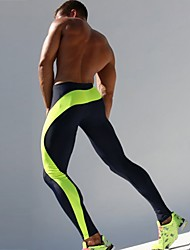 cheap -TAUWELL Men's Running Tights Compression Pants Patchwork Elastane Sports Compression Clothing Tights Running Fitness Gym Workout Exercise Breathable Quick Dry Sweat-wicking Color Block Green Blue