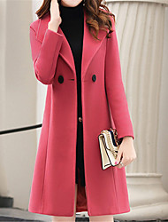 cheap -Women's Daily Fall & Winter Long Coat, Solid Colored Shirt Collar Long Sleeve Polyester / Nylon Blushing Pink / Army Green / Red