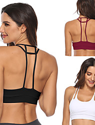 cheap -Women's Sports Bra Running Bra Open Back Yoga Running Fitness Lightweight Breathable Quick Dry Padded Light Support White Black Burgundy Solid Color / Stretchy / Sweat-wicking
