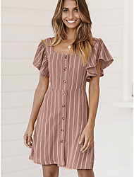 cheap -Women's Trumpet / Mermaid Dress - Striped Brown S M L XL