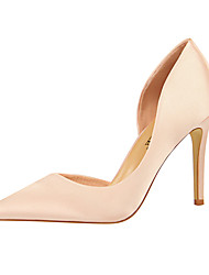 cheap -Women's Heels Stiletto Heel Pointed Toe Satin Minimalism Spring & Summer Black / Wine / Green / Party & Evening