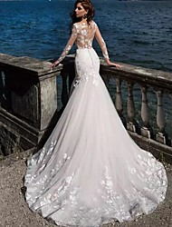 cheap -Mermaid / Trumpet Wedding Dresses Bateau Neck Court Train Lace Tulle Lace Over Satin Long Sleeve Sexy See-Through Backless Illusion Sleeve with Beading Appliques 2021