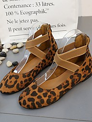 cheap -Women's Flats Flat Heel Round Toe Buckle Suede Business / Casual Spring &  Fall / Spring & Summer Black / Leopard / Beige