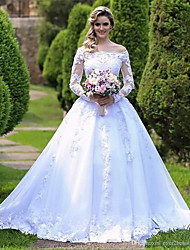 cheap -Ball Gown Off Shoulder Court Train Lace / Tulle / Lace Over Satin Long Sleeve Country / Glamorous Illusion Sleeve Wedding Dresses with Lace / Appliques 2020