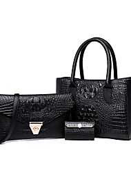 cheap -Women's Zipper / Embossed PU Bag Set Solid Color 3 Pcs Purse Set Black / Gold / Blue