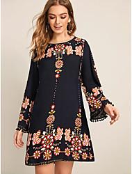cheap -Women's Black Dress Basic Daily Wear Dress Shift Floral Tribal Print S M Slim