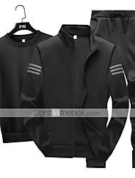cheap -Men's Side-Stripe Tracksuit Sweatsuit 3pcs Winter Front Zipper Mandarin Collar Running Walking Jogging Sports Thermal / Warm Windproof Soft Jacket Tee / T-shirt Pants Long Sleeve Activewear