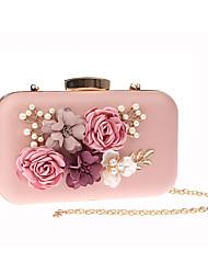 abordables -Femme Fleur PU Pochette A Fleur Noir / Blanche / Rose Claire