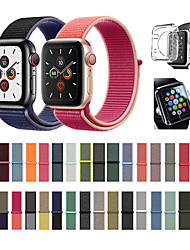 abordables -Sangle en nylon 3 en 1, couvercle en TPU transparent et protecteur d'écran en verre trempé pour la série Apple Watch 5/4/3/2/1