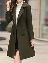 abordables -Femme Quotidien Automne hiver Longue Manteau, Couleur Pleine Revers Cranté Manches Longues Polyester Vert Véronèse / Marron / Kaki