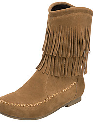 cheap -Women's Boots Cowboy / Western Boots Low Heel Round Toe Tassel Suede Mid-Calf Boots Winter Black / Brown / Coffee
