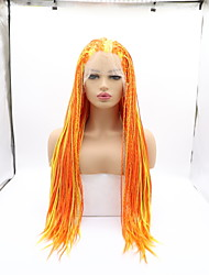 cheap -Synthetic Lace Front Wig Plaited Braid Lace Front Wig Blonde Medium Length Yellow Synthetic Hair 26 inch Women's Women Faux Locs Wig Blonde Sylvia