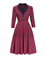 cheap -Women's Swing Dress Cotton Midi Dress - 3/4 Length Sleeve Plaid Patchwork V Neck Vintage Daily Wear Festival Cotton Slim Red S M L XL XXL