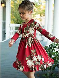 abordables -bébé Fille Actif Rouge Imprimé Imprimé Manches Longues Robe Rouge