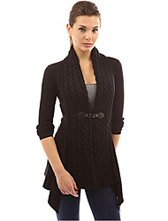 cheap -Women's Solid Colored Long Sleeve Cardigan Sweater Jumper, Deep V Spring / Fall Black / Purple / Green S / M / L
