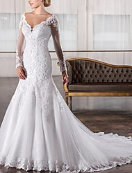 cheap -Mermaid / Trumpet V Neck Sweep / Brush Train Lace Long Sleeve Sexy See-Through / Backless / Illusion Sleeve Wedding Dresses with 2020