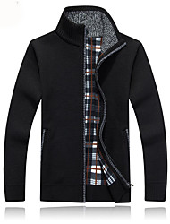 cheap -Men's Solid Colored Cardigan Long Sleeve Sweater Cardigans V Neck Wine Black Blue