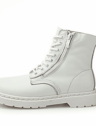 cheap -Men's Combat Boots Leather Fall Boots Booties / Ankle Boots Black / White