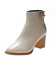 cheap -Women's Boots Chunky Heel Pointed Toe PU Winter Black / White / Beige
