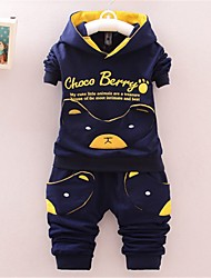 cheap -Baby Boys' Basic Print Print Long Sleeve Long Long Clothing Set Navy Blue