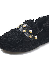 cheap -Women's Flats Flat Heel Round Toe Suede Winter Black / White
