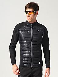 cheap -Mountainpeak Men's Cycling Jersey Cycling Jacket Winter Fleece Polyester Spandex Bike Winter Fleece Jacket Top Fleece Lining Breathable Warm Sports Black Mountain Bike MTB Clothing Apparel Bike Wear