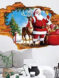 Недорогие -Guang-T 3d стикер стены окна с Рождеством Санта-Клаус и олени съемные наклейки росписи искусства росписи на рождественский фестиваль праздничные украшения (50x70 см)