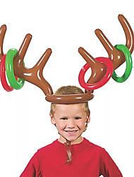 cheap -PVC Inflatable Antler Headband Toys Animal Head Ring Throwing Circle Toy Game Funny Reindeer Christmas Gifts Decor Accessories