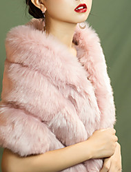 cheap -Sleeveless Shawls / Capes Wool / Faux Fur / Imitation Cashmere Wedding / Party / Evening Women's Wrap With Solid