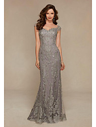 cheap -Mermaid / Trumpet Scalloped Neckline Floor Length Tulle Elegant / Grey Wedding Guest / Formal Evening Dress with Lace Insert / Appliques 2020