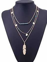 cheap -Women's Turquoise Layered Necklace Layered Cross Feather Ladies Simple Vintage Party Alloy Gold Silver 45 cm Necklace Jewelry 1pc For Birthday Gift Holiday