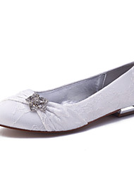 cheap -Women's Wedding Shoes Flat Heel Round Toe Wedding Flats Classic Sweet Wedding Party & Evening Lace Rhinestone Solid Colored White Champagne Ivory