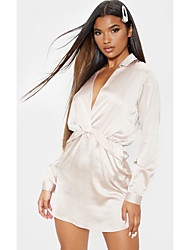 cheap -Women's Date Dress Basic Shirt Dress - Solid Colored Bow Criss Cross Wrap Silver S M L XL