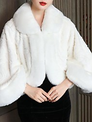 cheap -3/4 Length Sleeve Coats / Jackets / Capes Wool / Faux Fur / Orlon Wedding / Party / Evening Women's Wrap With Solid / Fur